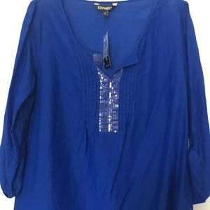 NWT Express Royal Blue Sequin Top L Tunic